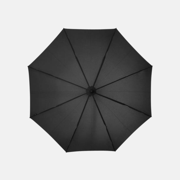 """Svart Stormsäkra 23"""" paraplyer med reklamtryck"""