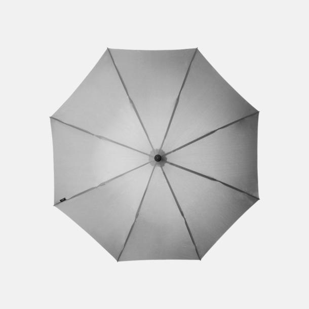 """Grå Stormsäkra 23"""" paraplyer med reklamtryck"""