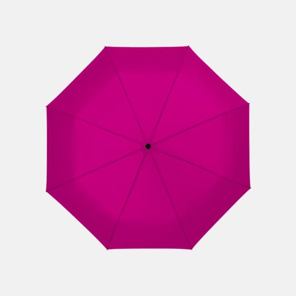 Magenta 3-sektionsparaplyer med reklamtryck
