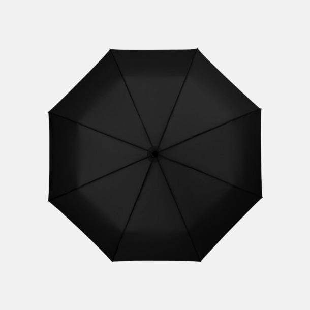 Svart 3-sektionsparaplyer med reklamtryck