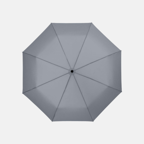 Grå 3-sektionsparaplyer med reklamtryck