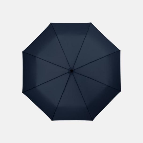 Marinblå 3-sektionsparaplyer med reklamtryck