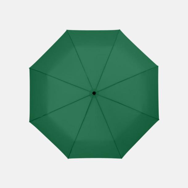 Grön 3-sektionsparaplyer med reklamtryck