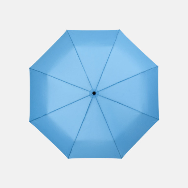 Blå 3-sektionsparaplyer med reklamtryck
