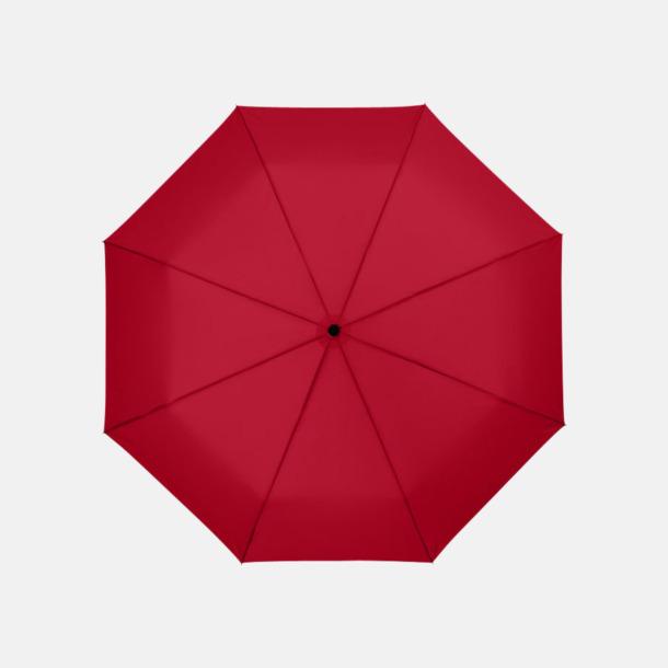 Röd 3-sektionsparaplyer med reklamtryck