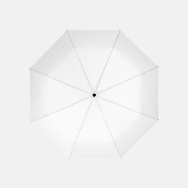 Vit 3-sektionsparaplyer med reklamtryck