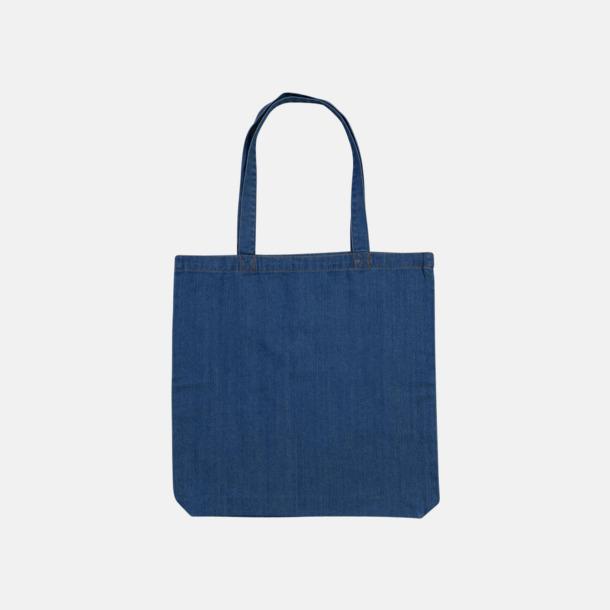Denim Blue (standard) Eko jeanskassar i 2 storlekar med reklamtryck