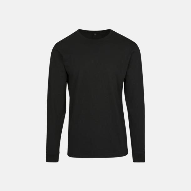 Svart Långärmade t-shirts med ribbade muddar - med reklamtryck