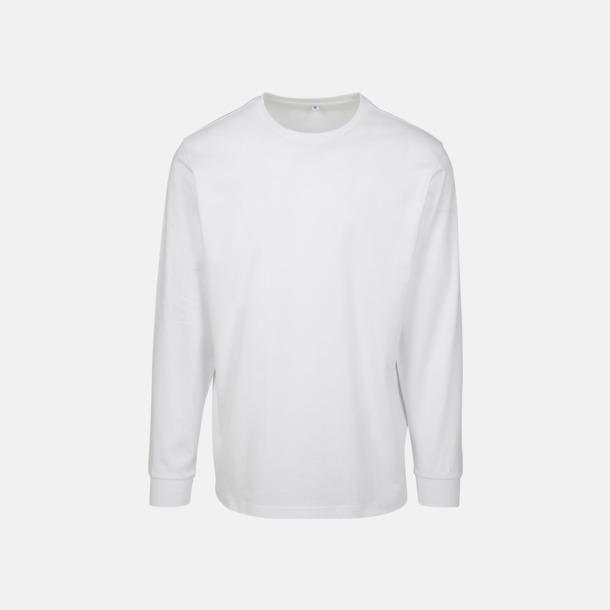 Vit Långärmade t-shirts med ribbade muddar - med reklamtryck