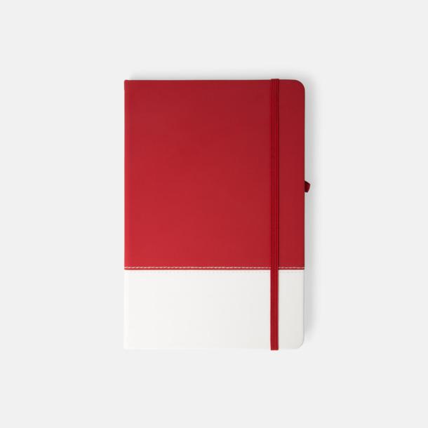 Röd / Vit 2-färgade anteckningsblock i A5-format med reklamtryck
