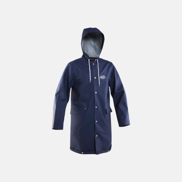 Marinblå (unisex) Grundéns klassiska regnrock i unisex- & dammodell med reklamtryck