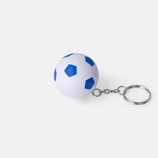 Vit/Royal Fotbollsnyckelringar med reklamtryck