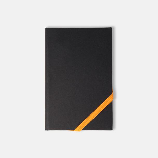 Svart/Orange (A5) Anteckningsböcker i A5- och A6-format med reklamtryck