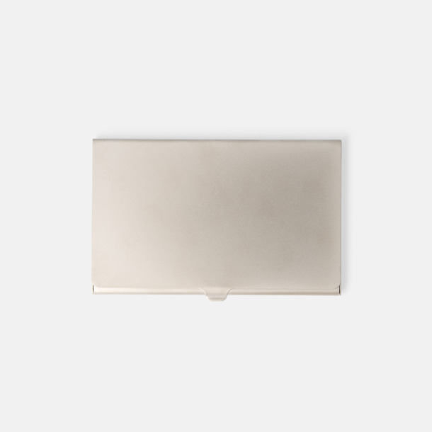 Silver (matt) Silverfärgade visitkortsfodral för 10 kort - med reklamtryck
