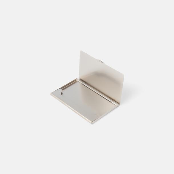 Silverfärgade visitkortsfodral för 10 kort - med reklamtryck