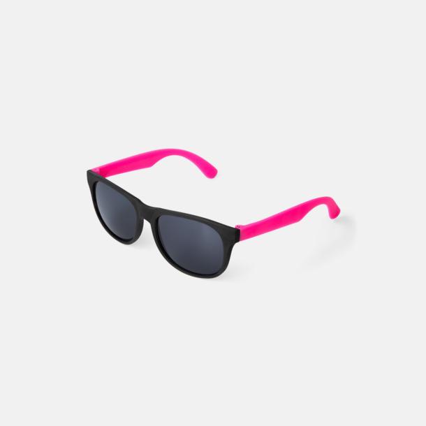 Neon Rosa Klassiska solglasögon med bågar i kontrasterande färg - med reklamtryck