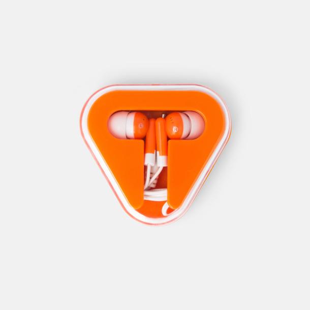 Orange In-ear hörlurar i praktisk förpackning