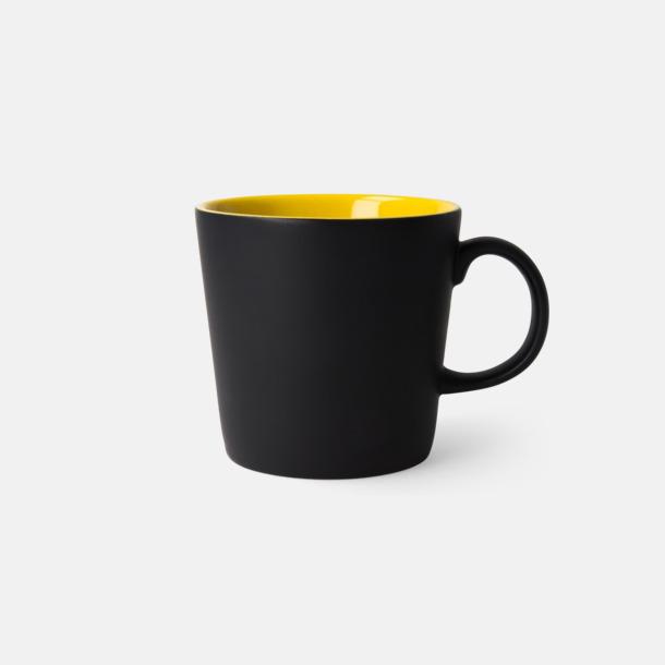 Svart/Gul (matt) Fina kaffemuggar med reklamtryck