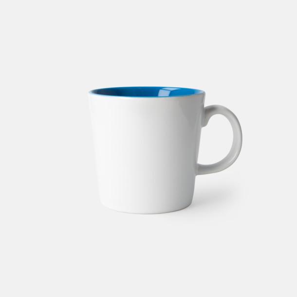 Vit/Blå (blank) Fina kaffemuggar med reklamtryck