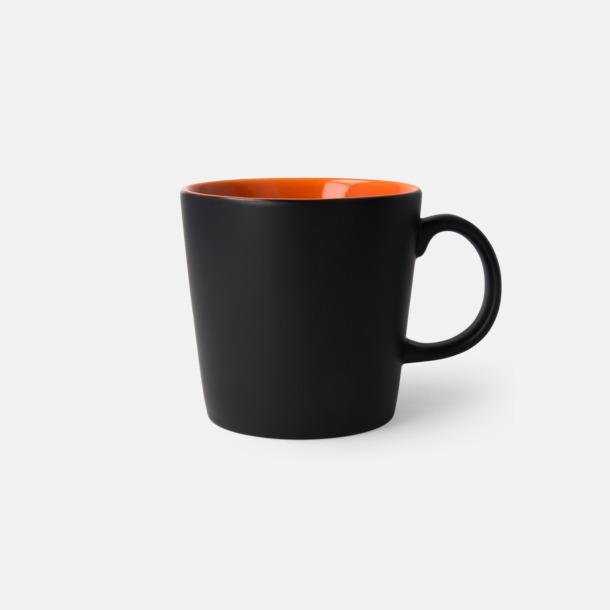 Svart/Orange (matt) Fina kaffemuggar med reklamtryck