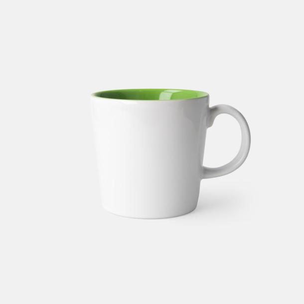 Vit/Limegrön (blank) Fina kaffemuggar med reklamtryck