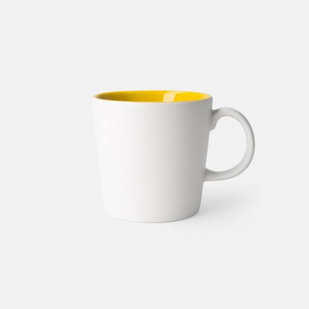 Vit/Gul (matt) Fina kaffemuggar med reklamtryck