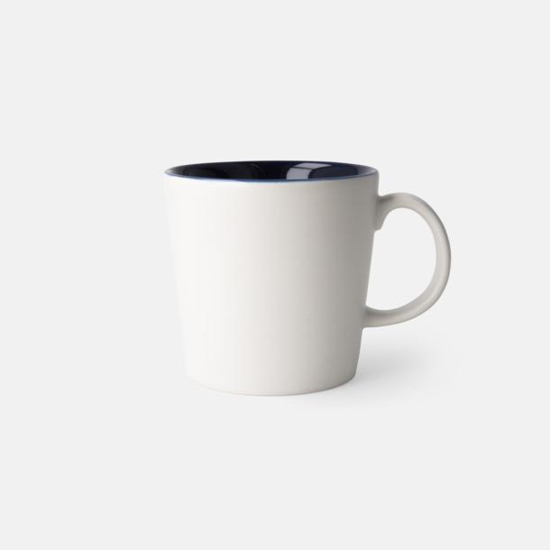 Vit/Marinblå (matt) Fina kaffemuggar med reklamtryck