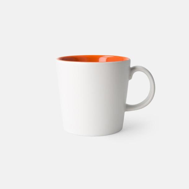 Vit/Orange (matt) Fina kaffemuggar med reklamtryck