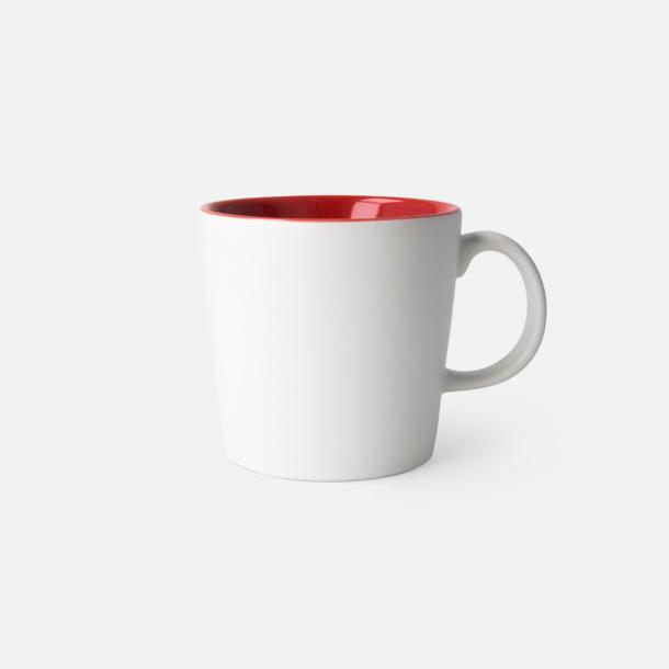 Vit/Röd (matt) Fina kaffemuggar med reklamtryck