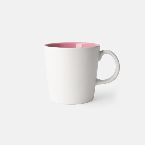 Vit/Rosa (matt) Fina kaffemuggar med reklamtryck