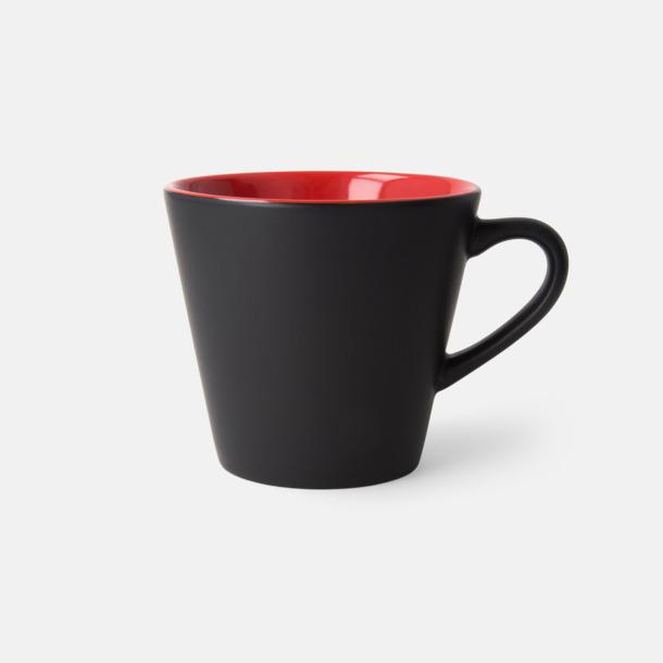 Svart/Röd (matt) Vackra kaffemuggar med reklamtryck