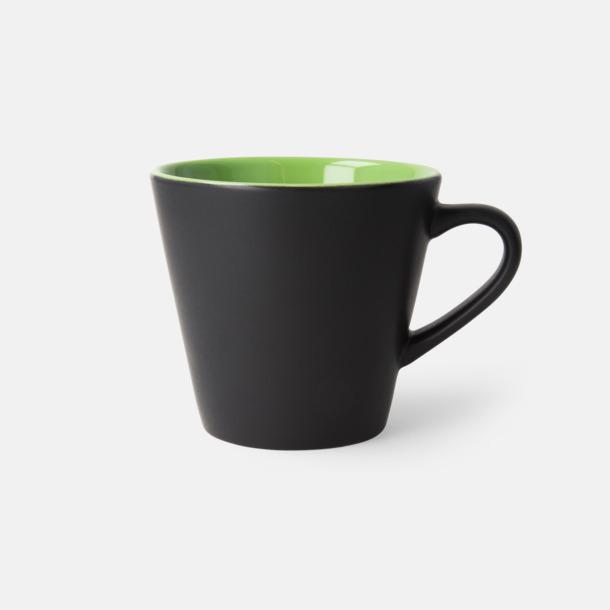 Svart/Limegrön (matt) Vackra kaffemuggar med reklamtryck