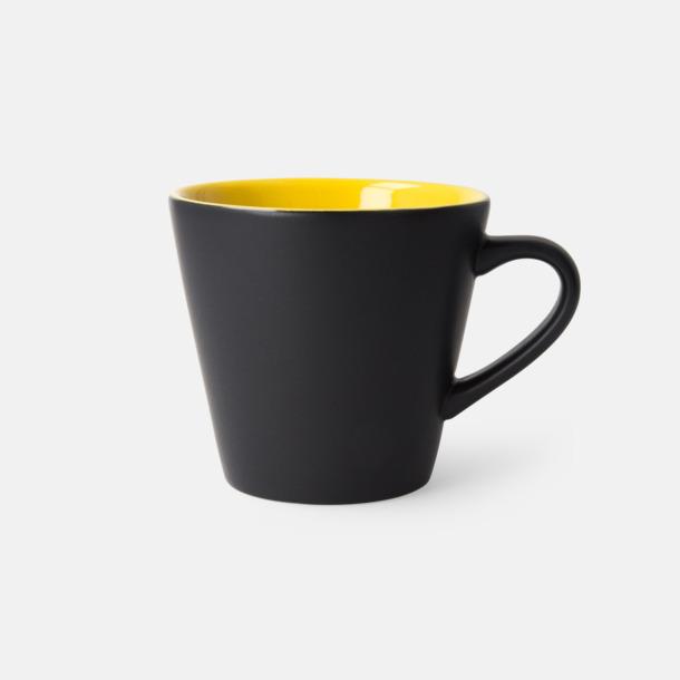 Svart/Gul (matt) Vackra kaffemuggar med reklamtryck