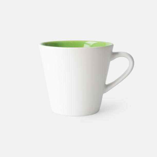 Vit/Limegrön (matt) Vackra kaffemuggar med reklamtryck