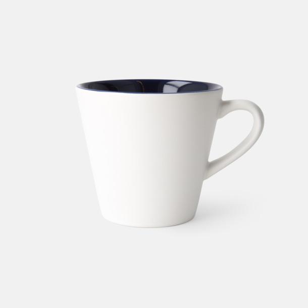 Vit/Mörkblå (matt) Vackra kaffemuggar med reklamtryck