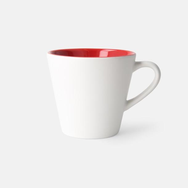 Vit/Röd (matt) Vackra kaffemuggar med reklamtryck