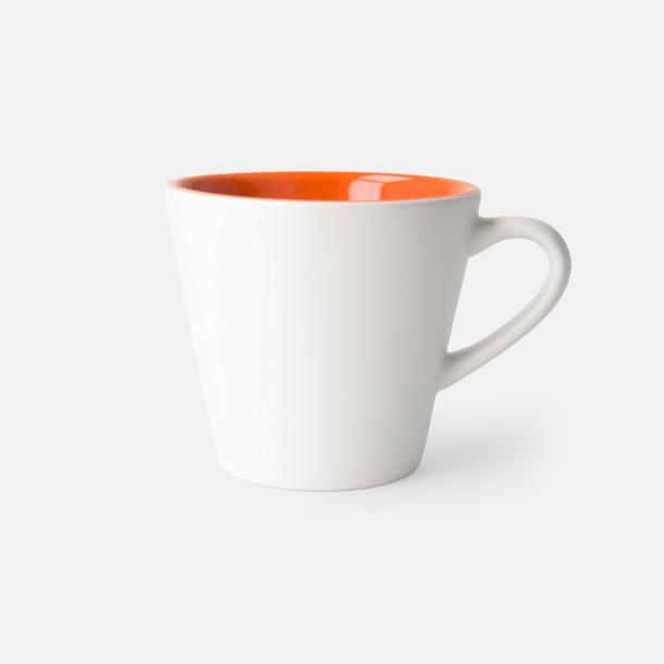 Vit/Orange (matt) Vackra kaffemuggar med reklamtryck