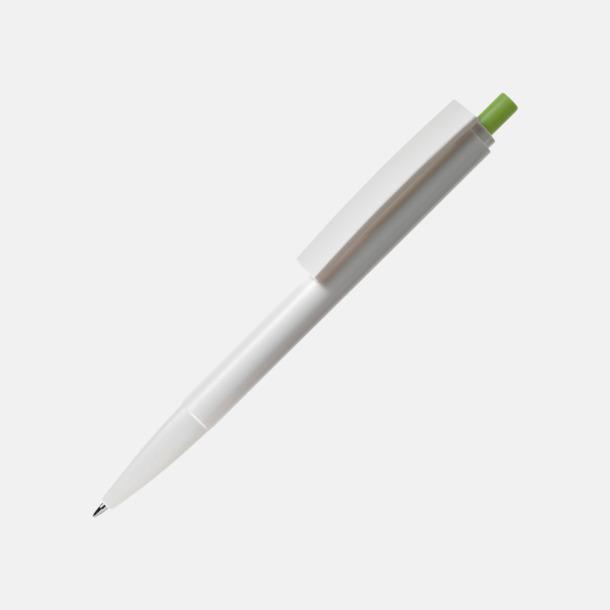 Vit / Grön Pennor i återvunnen plast med reklamtryck