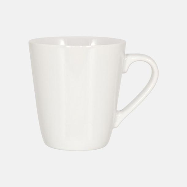 Vit (blank) Kaffemuggar i stengodsmuggar med reklamtryck