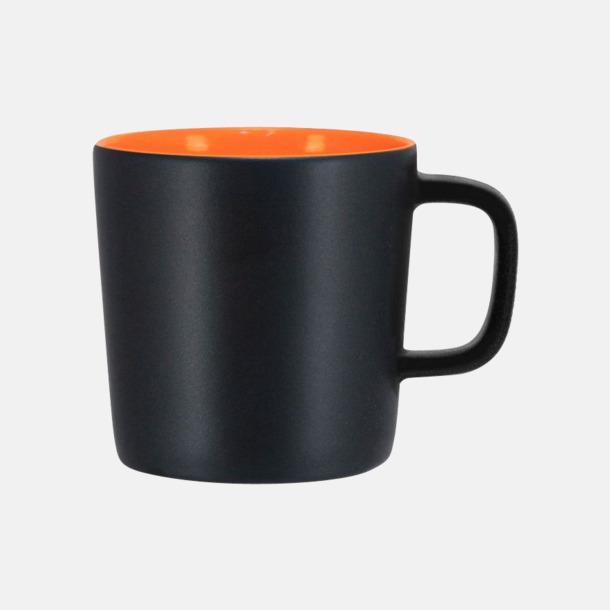 Mattsvart/Orange Kaffemuggar med kantiga öron - med reklamtryck