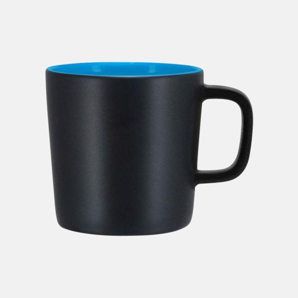 Mattsvart/Processblå Kaffemuggar med kantiga öron - med reklamtryck