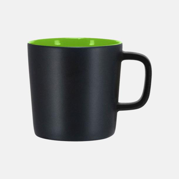 Mattsvart/Lime Kaffemuggar med kantiga öron - med reklamtryck