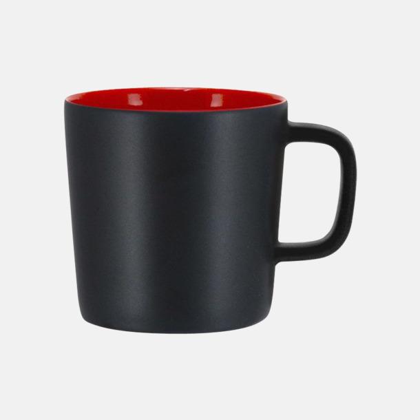 Mattsvart/Röd Kaffemuggar med kantiga öron - med reklamtryck