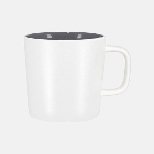 Mattvit/Grå Kaffemuggar med kantiga öron - med reklamtryck