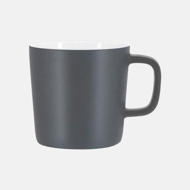 Mattgrå/Vit Kaffemuggar med kantiga öron - med reklamtryck