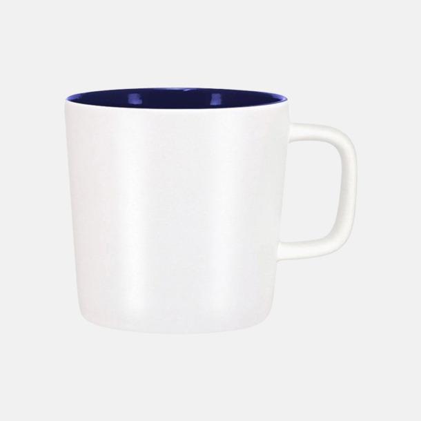 Mattvit/Marinblå Kaffemuggar med kantiga öron - med reklamtryck