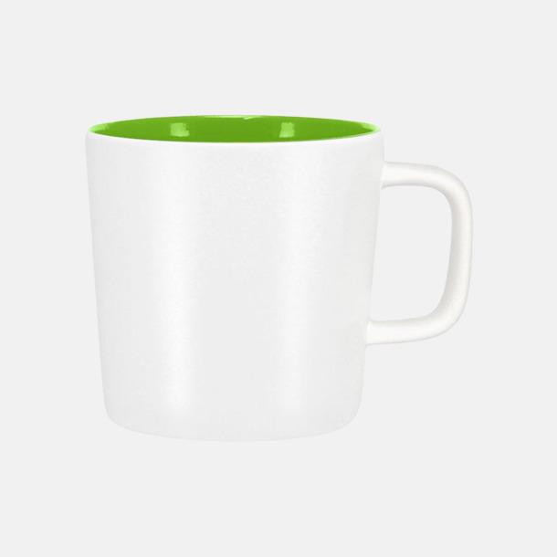 Mattvit/Lime Kaffemuggar med kantiga öron - med reklamtryck