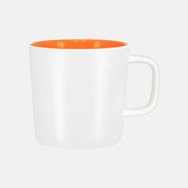 Mattvit/Orange Kaffemuggar med kantiga öron - med reklamtryck