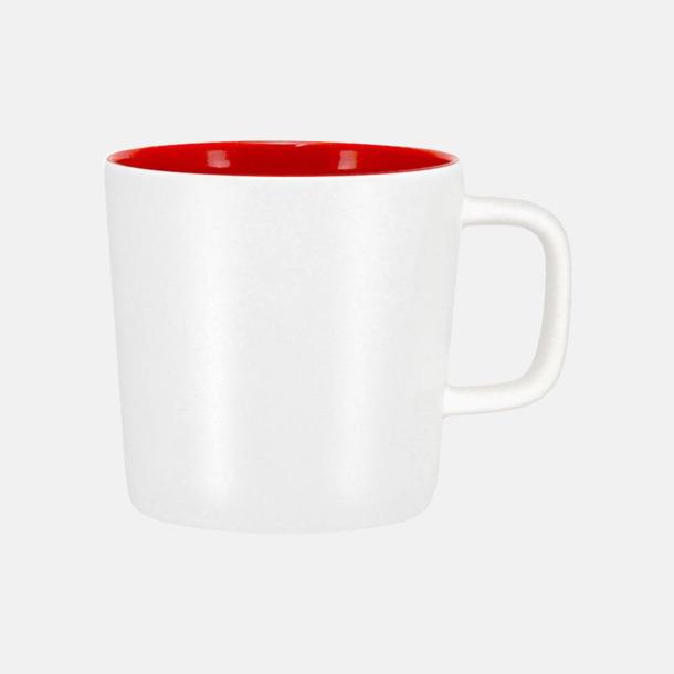 Mattvit/Röd Kaffemuggar med kantiga öron - med reklamtryck