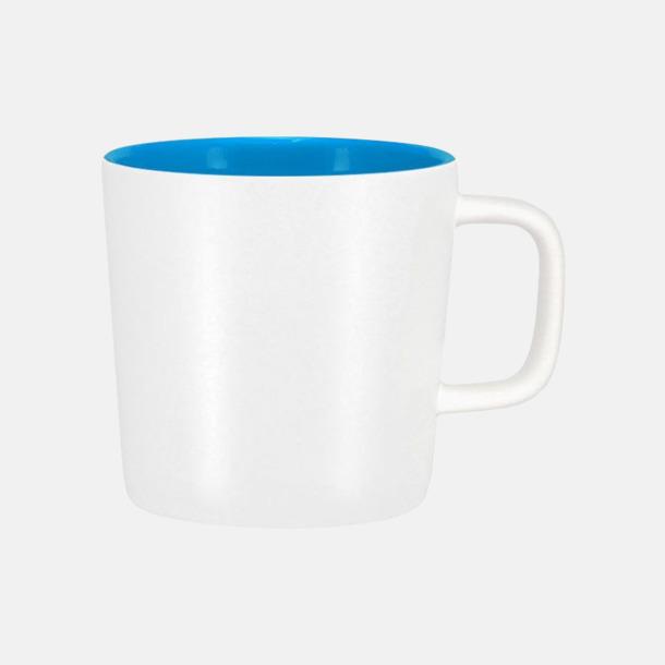 Mattvit/Processblå Kaffemuggar med kantiga öron - med reklamtryck